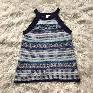 anthropologie moth knit sweater tank blue white